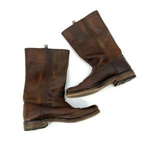 Frye Heath Boots Size 8.5 Brown Leather Distressed